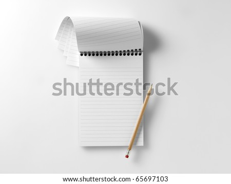 a blank reporters notepad notebook with pencil