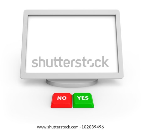 a blank screen and two buttons on a white background