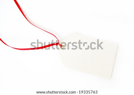 A blank tag with a red ribbon and drop shadow, all isolated on a white background.