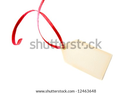 A blank tag with a red ribbon isolated on a white background.