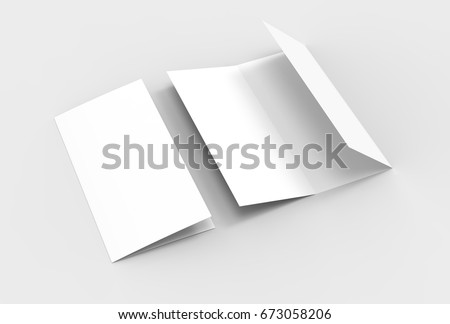 A4. Blank trifold paper brochure mock-up on soft gray background with soft shadows and highlights. 3D illustrating