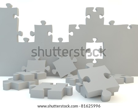 A blank wall against a white isolated background - stock photo