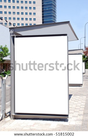A Blank white Sign on Bus stop