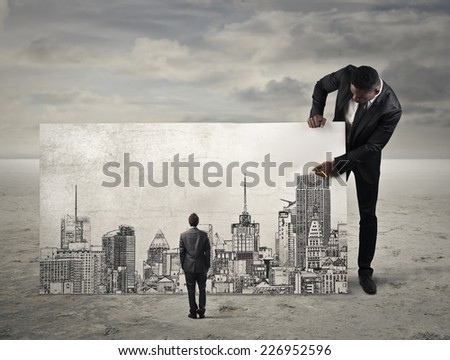 A blick over the city  - stock photo