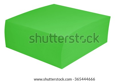A block of green notepads, isolated on white. Clipping path included.