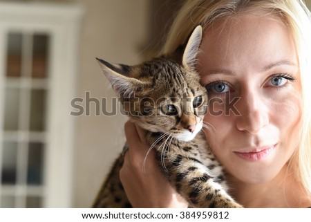 A blond blue-eyed girl with exclusive savannah A1 or Asher cat in studio with baroque style - stock photo
