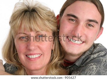 A blond mother and her teen-aged son.