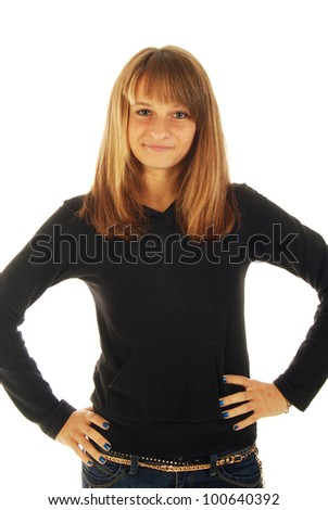A blonde girl very satisfied, happy and full of joy - stock photo
