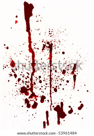 A blood spatter background on white.