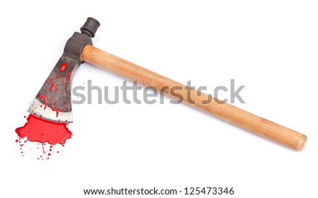 A bloody axe and small pool of blood (red paint) isolated on white. - stock photo