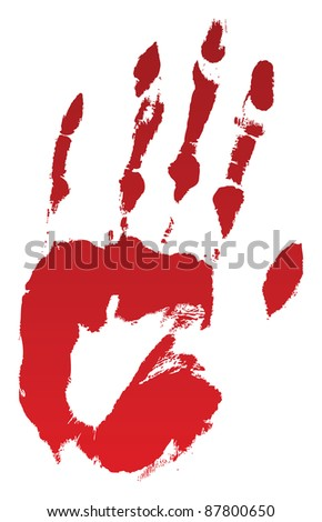 A bloody hand print on white. Raster. - stock photo
