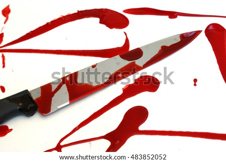 A bloody knife scene over a white base.