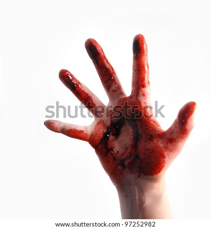 A bloody red hand is isolated on a white background and reaching up. Use it for a violence or fear horror concept. - stock photo