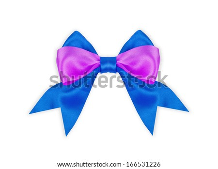 A blue and purple bow on white