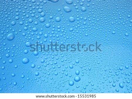 A blue background with water drops - stock photo
