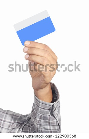 a blue bank card in his right hand, isolated on white background