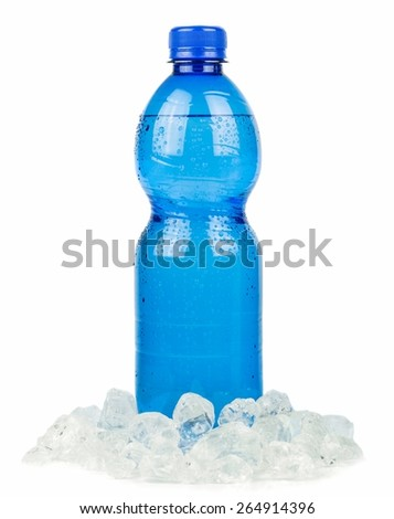 A blue bottle of mineral water and ice on a white background - stock photo