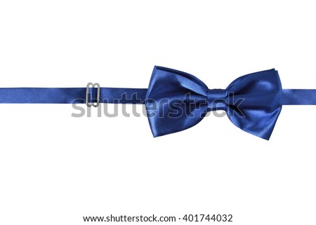 A blue bow Tie, isolated on white background - stock photo