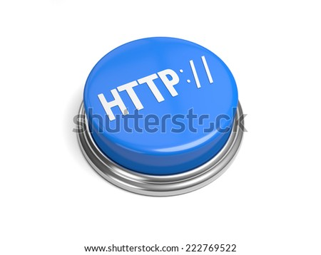 A blue button with the word http on it - stock photo