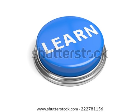 A blue button with the word learn on it - stock photo
