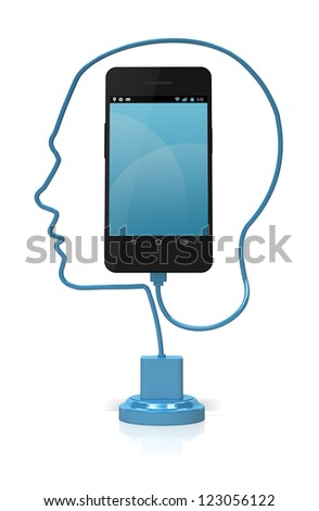 A blue cable forming the silhouette of a head plugged into a smart phone over a white background. Add your own text or icons to the screen. - stock photo
