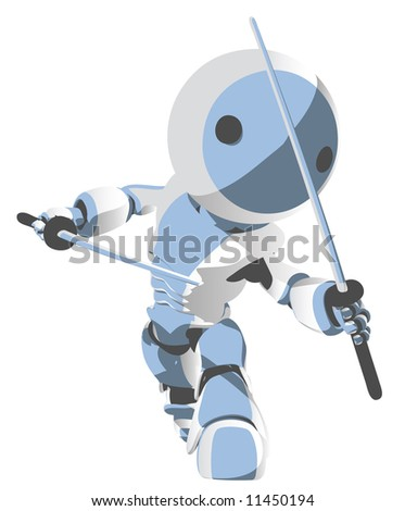 A blue cartoon robot ninja with two katanas in a defensive pose.