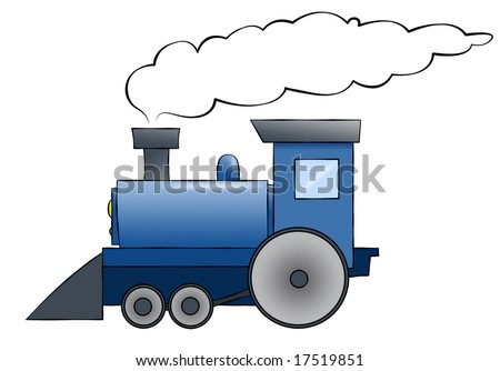 A blue cartoon train chugging along with room for text on the train or in the smoke. - stock photo
