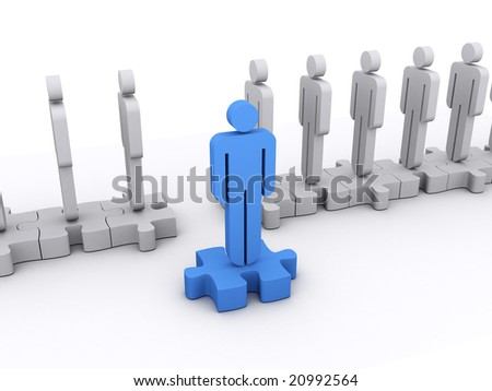 A blue character stepped out of the line. Concept of standing out, leadership, teamwork, - stock photo