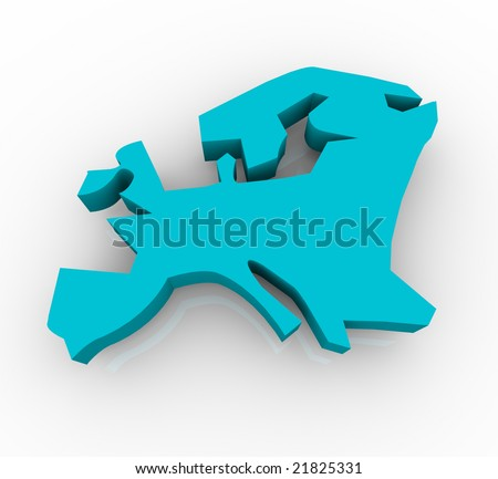 A blue conceptualized map of Europe on a white background - stock photo