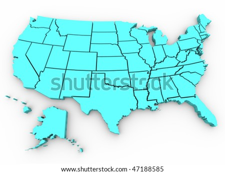A blue 3d rendering of a United States map - stock photo
