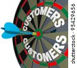 A blue dart hits a bulls-eye in the target on a dart board marked Customers to symbolize finding new buyers for your products or services - stock photo