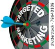 A blue dart hits a bulls-eye in the target on a dart board marked Targeted Marketing illustrating a successful advertising campaign that aims to reach a niche market - stock photo