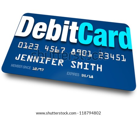A blue Debit Card to present at a store when purchasing merchandise and have the merchant withdraw money from your bank account - stock photo
