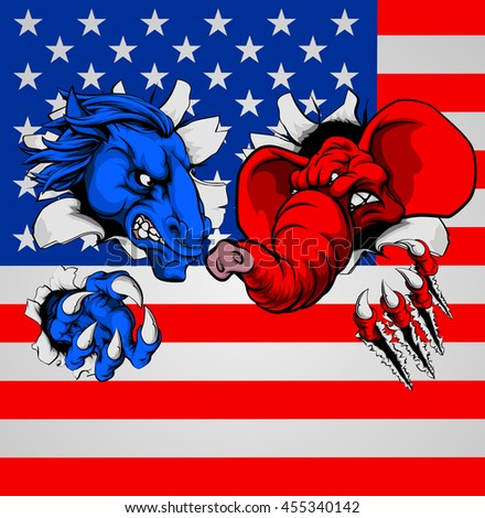 A blue donkey and red elephant, fighting with the American flag in the background