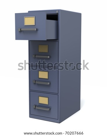 A blue filing cabinet with an open drawer. Isolated on a white background.