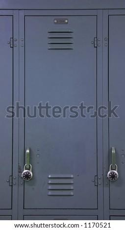 A blue gray school locker - stock photo