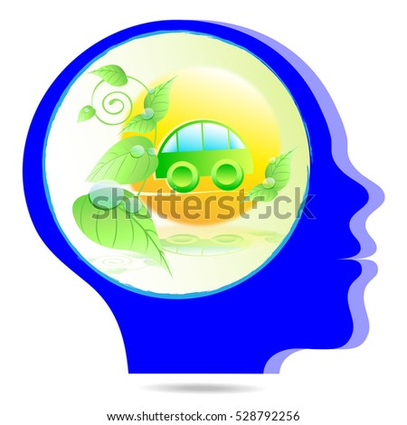a blue head with plant and a car as symbol for green energy in a bubble thought