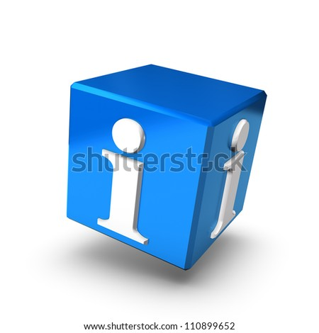 A blue information box floating on a white background. - stock photo