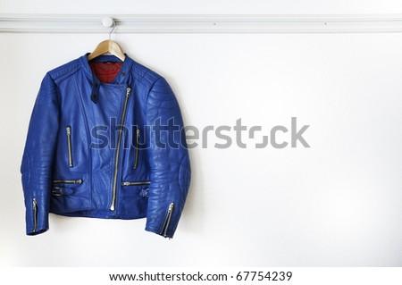 a blue leather jacket - stock photo