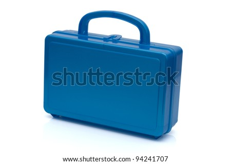 A blue lunchbox isolated on white, Healthy School Lunch - stock photo