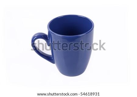 a blue mug isolated on  white - stock photo