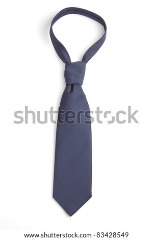 a blue necktie isolated on white - stock photo