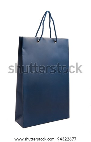 A blue paper bag for shopping - stock photo