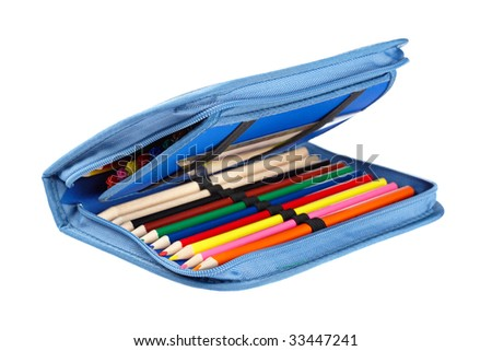A blue pencil case isolated on white background - stock photo