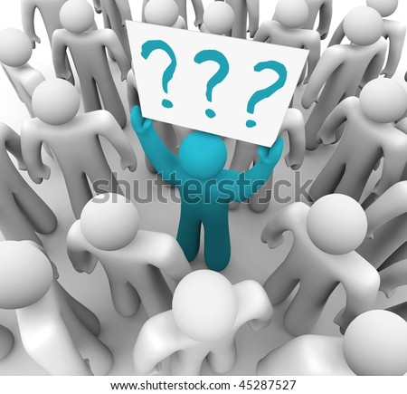 A blue person stands out in a crowd holding a sign with question marks on it