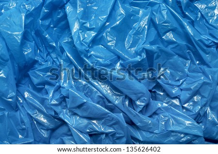 A blue plastic bag texture, macro, background - stock photo