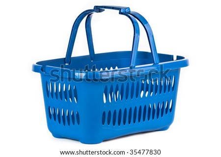 A blue plastic shopping basket on a white background. - stock photo