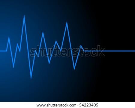 a blue radio wave on black background - stock photo
