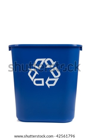 A blue recycle can  on a white background with copy space - stock photo