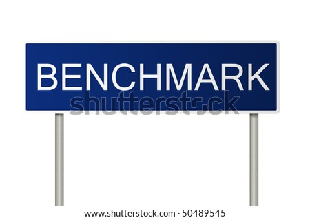 A blue road sign with white text saying Benchmark - stock photo